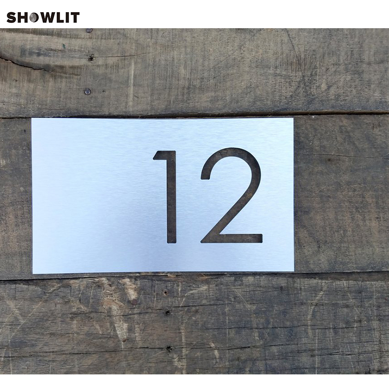 Brushed Stainless Steel House Number Address PlateBrushed Stainless Steel House Number Address Plate