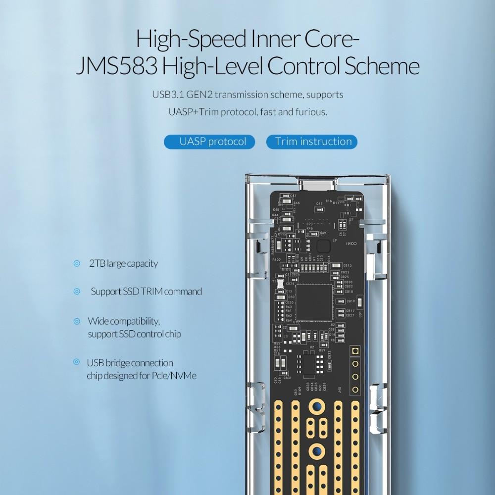 Boîtier SSD M.2 Transparent ORICO 10 Gbps compatible protocole UASP USB3.1 Gen2 boîtier Mini SSD type-c avec C à C et C à un câble - 3