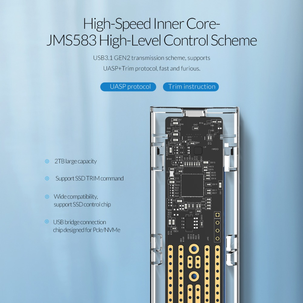 ORICO Transparent M.2 boîtier SSD NVME 10gbps Soutien UASP USB3.1 Gen2 Type-c Mini SSD Boîtier Avec C à C et C avec Un Câble - 3