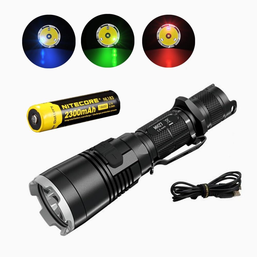 Nitecore MH27 Flashlight with nitecore NL183 18650 2300mah battery XP-L HI V3 LED 1000LM RGB LED High Bright Torch Waterproof nitecore 460lm led flashlight waterproof led torch with red light mode
