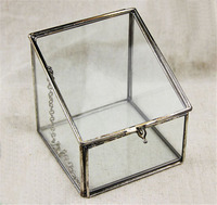 Minimalist Crystal glass Wedding Jewelry Case,Carrying Clear Box For Jewelry. Magical Thinking Faceted Glass Vanity Box