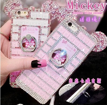 Mickey Mouse Diamond gem TPU soft Stand Holder silicone cover For Samsung Galaxy S6 S6 edge S6 edge plus With chain phone case