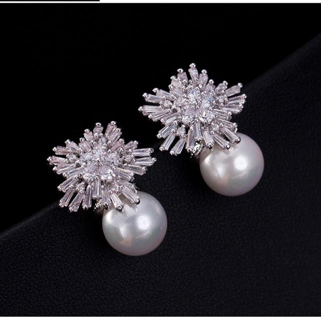 Elegant New Design Fashion Luxury Snowflake Zircon Pearl Earrings Jewelry With Aaa Cubic Zirconia