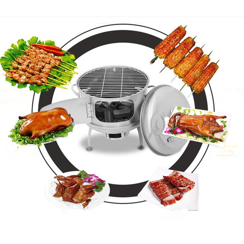 цена на Commercial Roasted Duck Furnace Charcoal Oven Roast Chicken Furnace Stainless Steel Grill Stove Hanging Portable Grill BBQ
