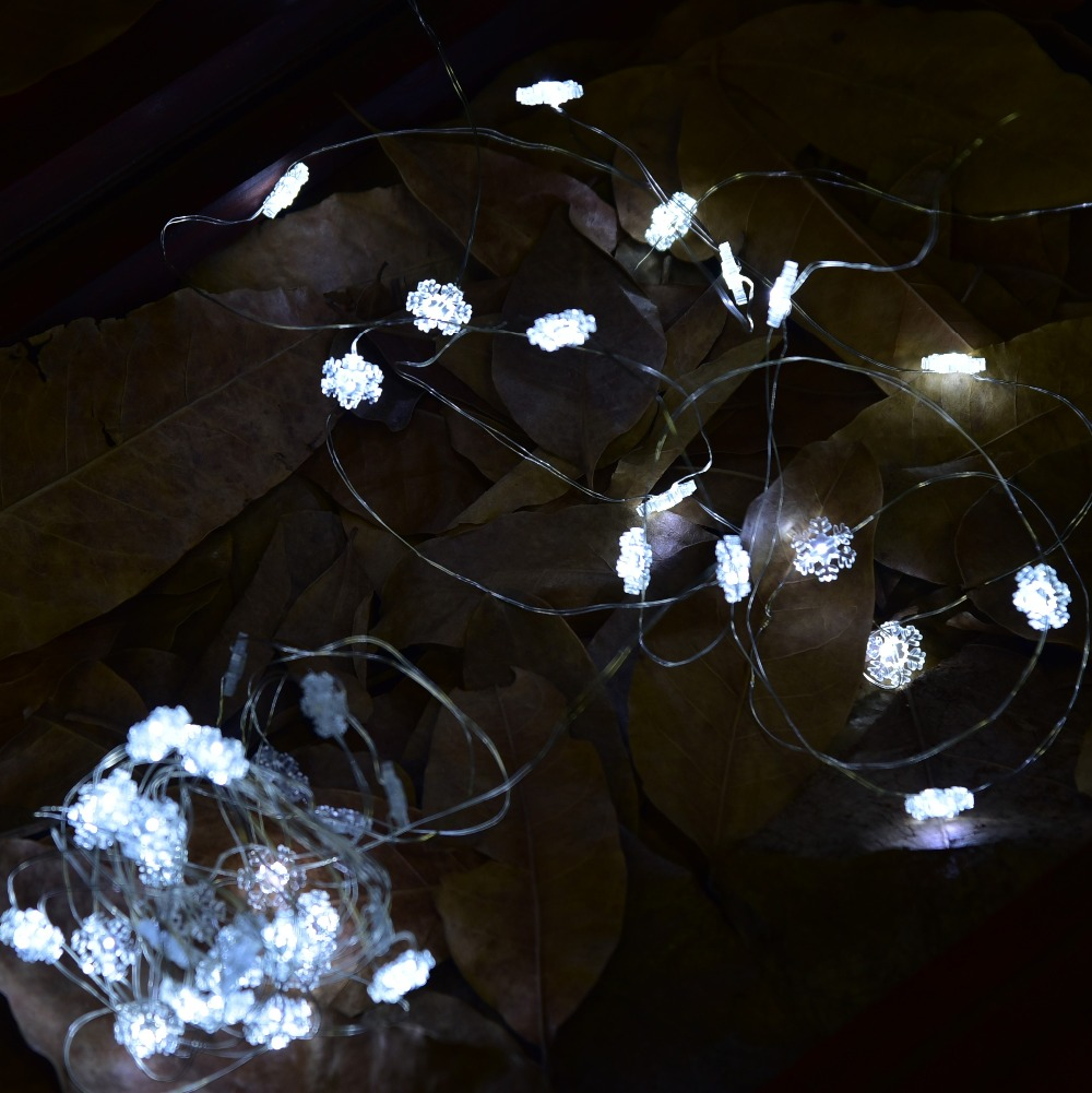 6M 40 Beads USB LED Copper Wire String Lights with Snowflake ...