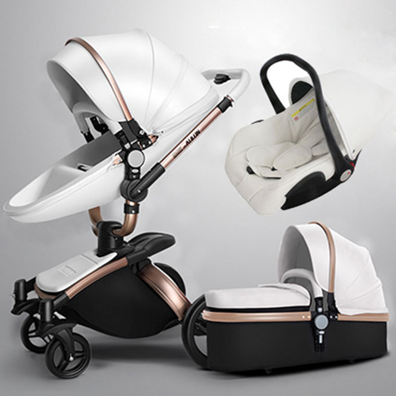 Aulon baby stroller 3 in 1 baby stroller pu leather can sit and lie four seasons winter Russia free shipping все цены