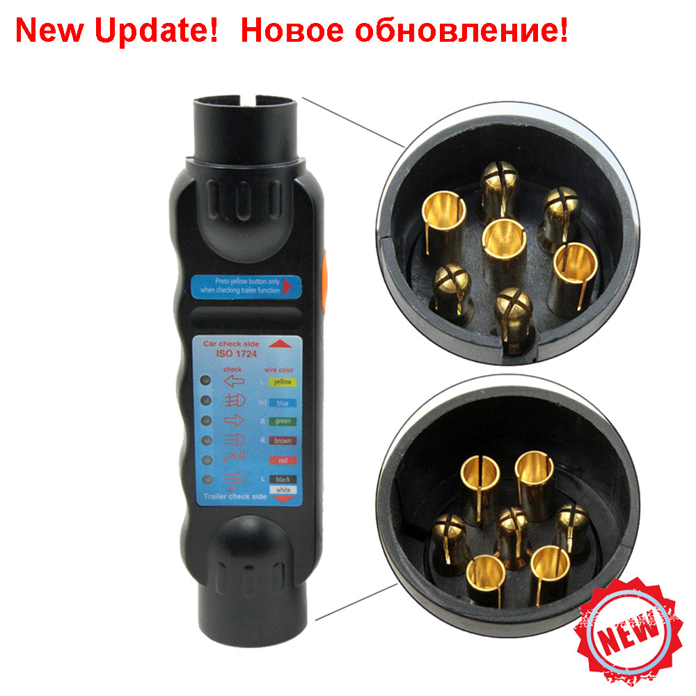 Durable 12v 7pin Car Truck Towing Trailer Plug Connection Socket Caravan Wiring Update 7 Pin Tester Connector Circuit Signal Light Test
