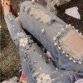 Novo de alta qualidade rendas buraco diamante beading bordado denim jeans skinny personalidade calças de brim