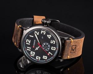 Image 3 - CURREN skórzany męski zegarek na pasku Fashion Design tarcza z cyframi męski wyświetlacz zegara data tydzień zegarek kwarcowy Hodinky Relogio Masculino