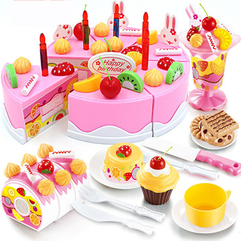 75Pcs Pretend Play Fruit Cutting Birthday Cake Kitchen Food Toys Pink Kid's Simulation Toy Girls Gift for Kids 38 80pcs diy pretend play fruit cutting birthday cake kitchen food toys cocina de juguete toy children girls christmas gift toys
