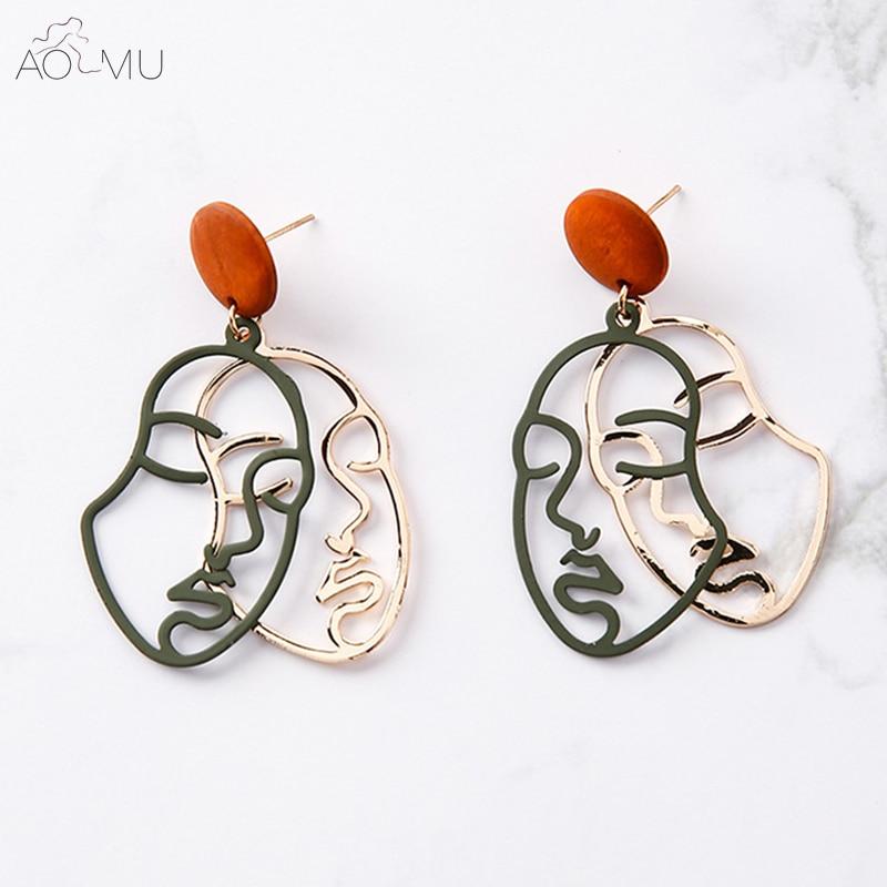 AOMU Design Vintage Wooden Gold Metal Body Statement Double Layer Dangle Earrings For Women Face Profile Earrings Girls Bijoux lingerie top