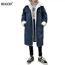 RUGOD Winter Korean  Denim 2017/6 Jacket Hot Coat Female Long Paragraph Plus Velvet Thick Cotton Trench Coat Women Casaco