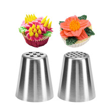 VOGVIGO 2pc/set Stainless Steel Russian Nozzle Icing Piping Tips Flower Cream  Sugarcraft Pastry Baking Tool Cake Decorator