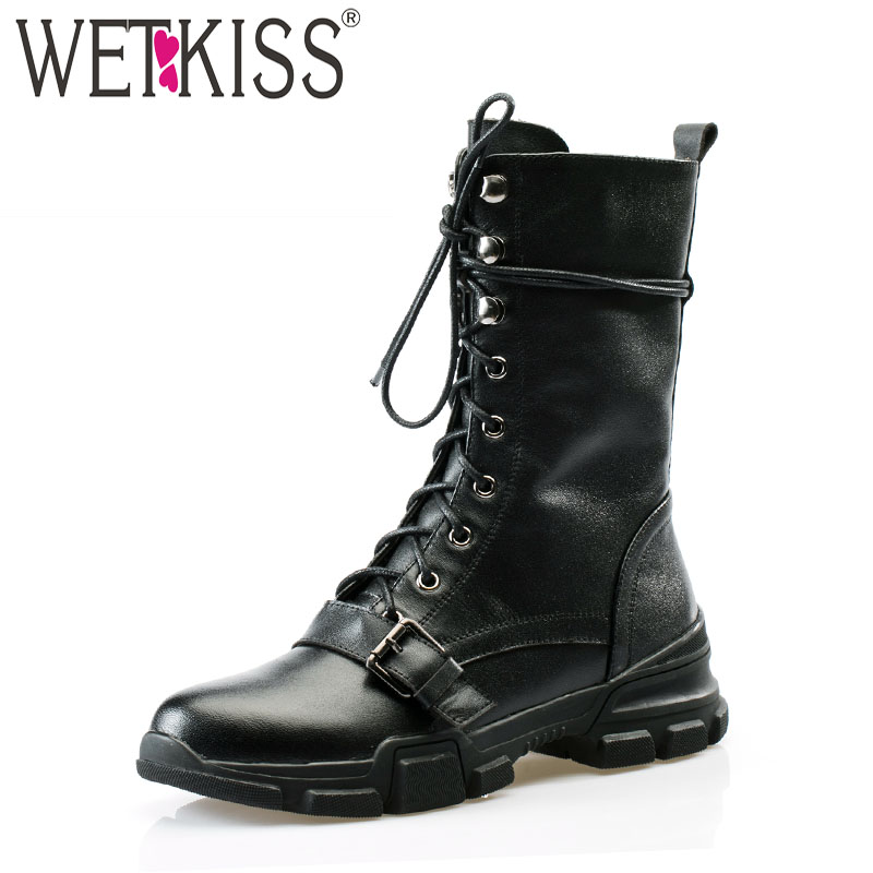 WETKISS Motorcycle Ankle Boots Flat With Lace Up Footwear Cow Leather Female Army Boots Round Toe Women Platform Shoes Winter maxmuxun women autumn winter rubber ankle boots lace up round toe flat heels classic black grey faux suede shoes female footwear