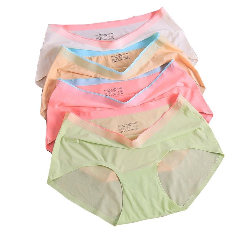 LANGSHA 4PCS/LOT Ultra-thin Panties Women Seamless New Sexy Lingerie Ice Silk Traceless Underwear Girls Plus Size Elastic Briefs