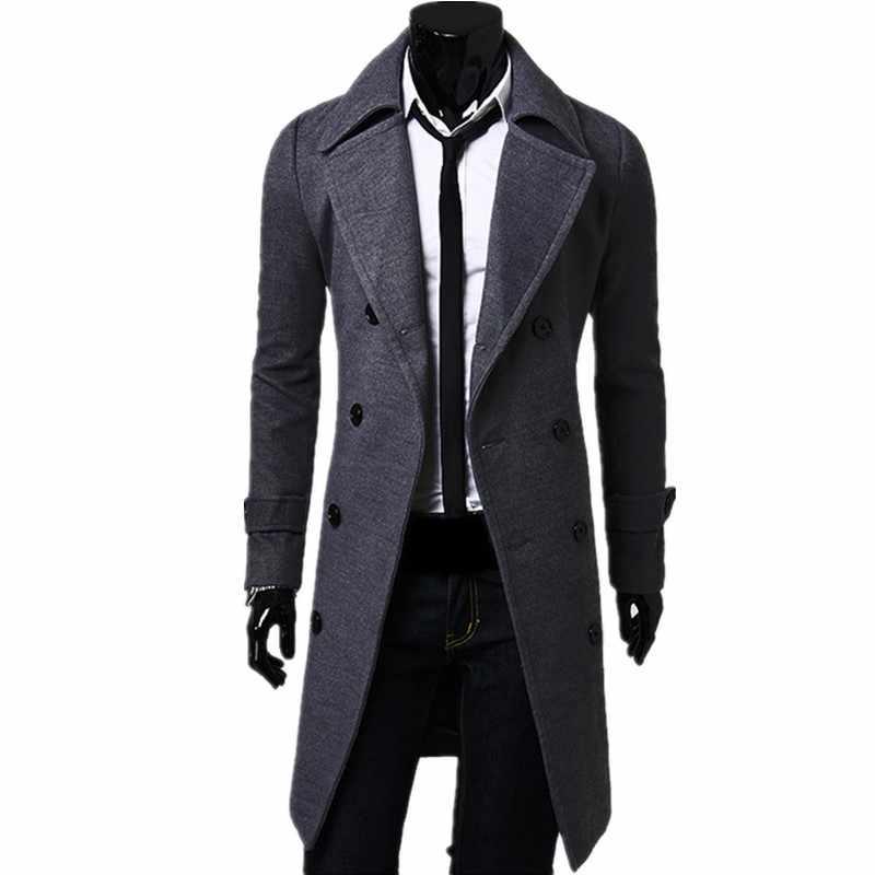 トレンチコートの男性の秋と冬のソリッドカラーのダブルブレスト固体色クラシック高品質のウール混コート