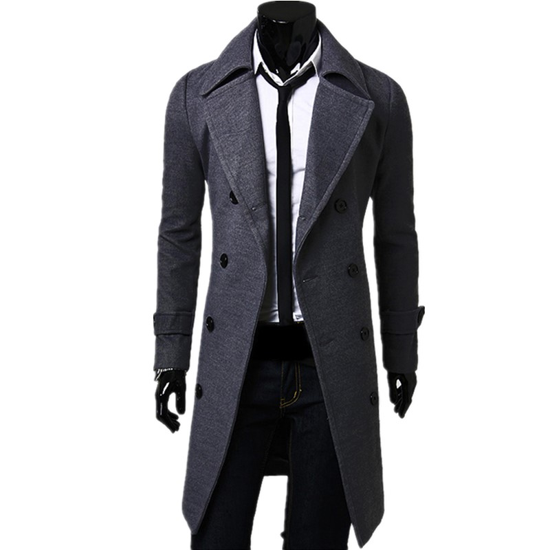 Trench   coat men's autumn and winter long solid color double-breasted solid color classic high quality wool blends coat