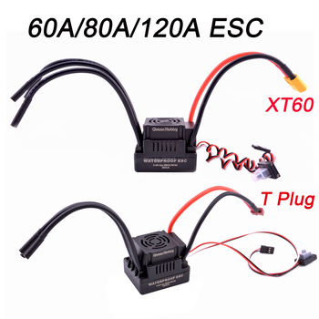 Upgrade Sensorless 60A 80A 120A S-80A S-120A Brushless ESC Electric Speed Controller With 5.5V / 3A BEC For 1/8 1/10 RC Car