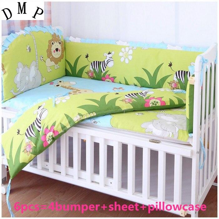 Promotion! 6pcs baby bedding set baby boy crib bedding set cartoon animal baby crib set  ,include (bumpers+sheet+pillow cover)
