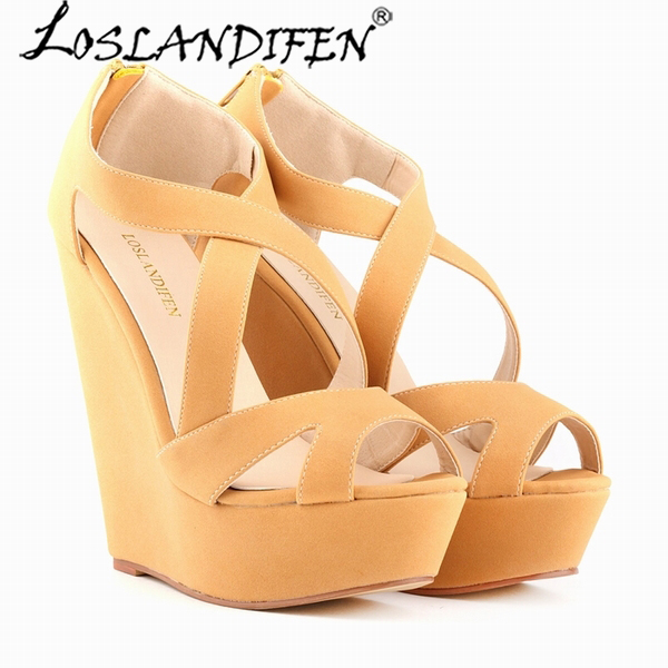 e0acf56a68556 US $51.28 |LOSLANDIFEN Wedges Cross tied Women Sandals Lady Faux Suede  Platform Peep Toe High Heels Shoes Summer Party Sandals 391 10SUede-in High  ...