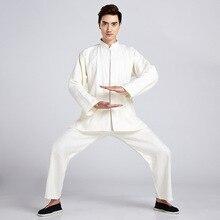 New Arrival Beige Chinese Men's Classic Tai Chi Uniform Cotton Linen Kung fu Suit Clothing Size M L XL XXL XXXL2516
