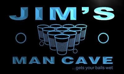 x0153-tm Jims Man Cave Beer Pong Bar Custom Personalized Name Neon Sign Wholesale Dropshipping On/Off Switch 7 Colors DHL