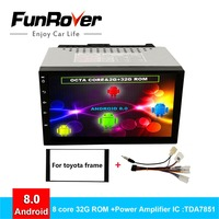 Funrover 8 core android 2 din Автомобильный dvd плеер на основе android для Toyota Universal Corolla Hilux Vios Прадо rav4 автомобильное радио с GPS navi vedio