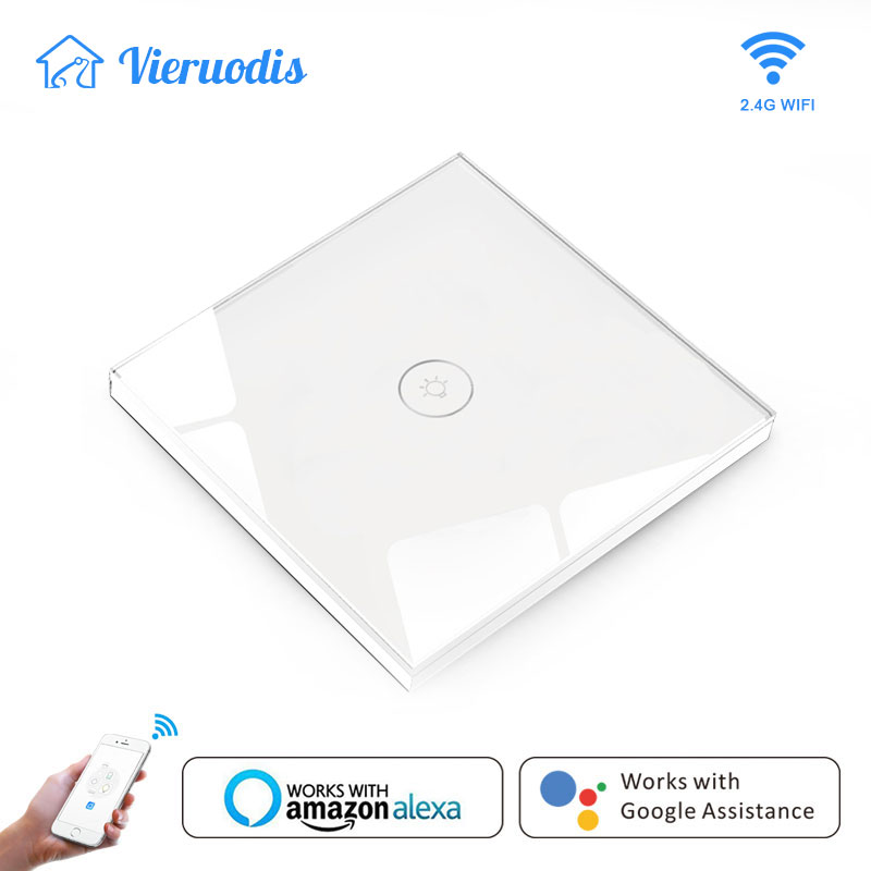 WIFI Smart Touch Switches Wireless Remote Control Light Wall On/Off Switches Waterproof Glass Panel Works With Alexa&google Home
