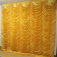 Free shipping 3x3m white ivory many colors ice silk wedding wave backdrops drapes curtain for party wedding decoration