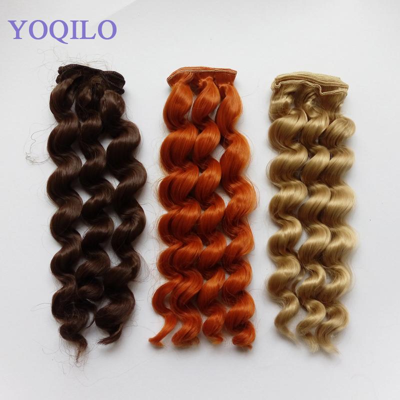 3PCS / LOT Nya Handgjorda BJD-paryckar Hår Curly Syntetfiber DIY Doll Hair 25cm