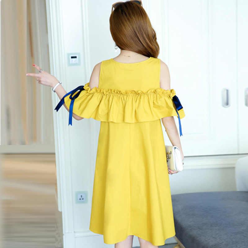3a841405f43 ... Maternity Dresses Summer 2018 New Korean Pregnant Women Fashion Off  Shoulder Short Sleeve Ruffles A Line ...