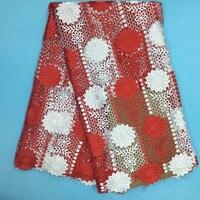 AC300 Biały + Czerwony Hurtowych tanie afryki koronki tkaniny wysokiej jakości przewód gipiury koronki tkaniny dla sukienek