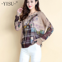 YISU Women Sweaters Print 2018 New Autumn Fashion Round neck Pullovers Computer Knitted Casual Long Loose Women Sweater