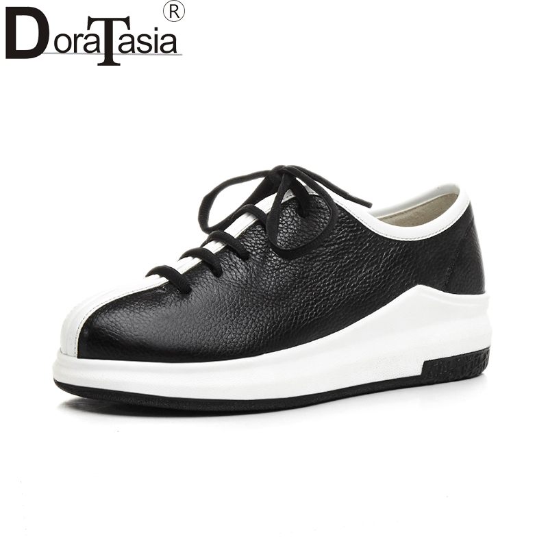 DoraTasia 2018 New Fashion Genuine Leather Sneakers Lace Up Platform Shoes Woman Casual Flat Round Toe Spring Women Shoes tfsland men women genuine leather loafers students white shoes unisex spring round toe lace up breathable walking shoes sneakers