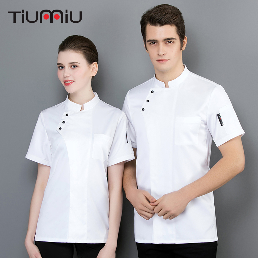 2019 New Arrival Chef Short Sleeves Jacket Kitchen Restaurant Uniform Summer Breathable Cook Workwear Unisex Chef Uniform Shirt