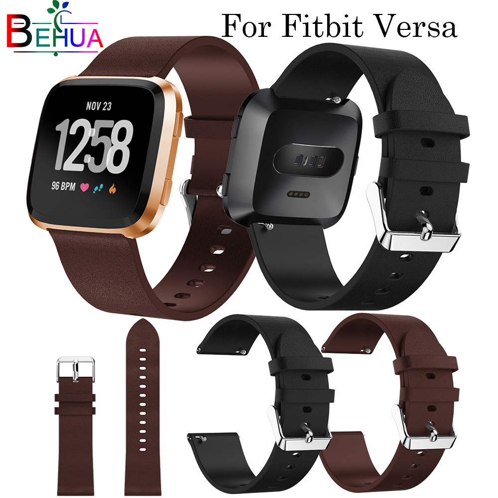 Soft Leather Watchband For Fitbit Versa Smart Watch Replacement Fashion Strap Bracelet Wristband Band For Fitbit Versa Size 22mm