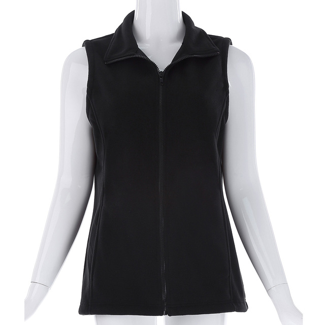 Women Black Fleece Vest Winter Coat Europen Style Ladies Waistcoat Sleeveless Slim Fit Jacket Outwear Woman Casual Vest