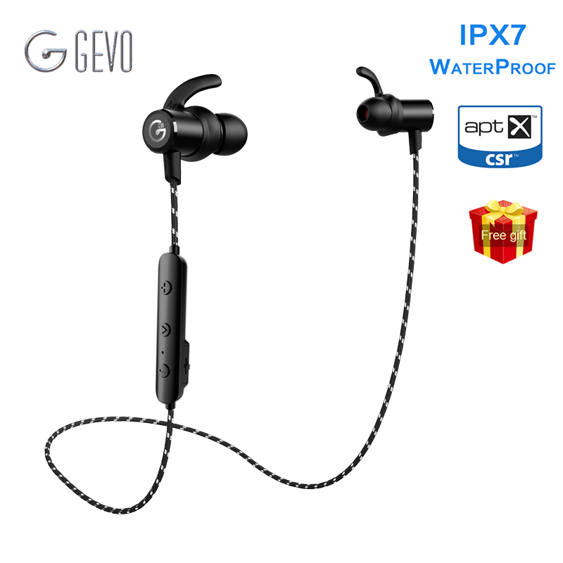 GEVO GV 18BT Wireless Headphone IPX7 Waterproof Stereo Earbuds With Mic Handsfree Neckband Bluetooth Earphone For