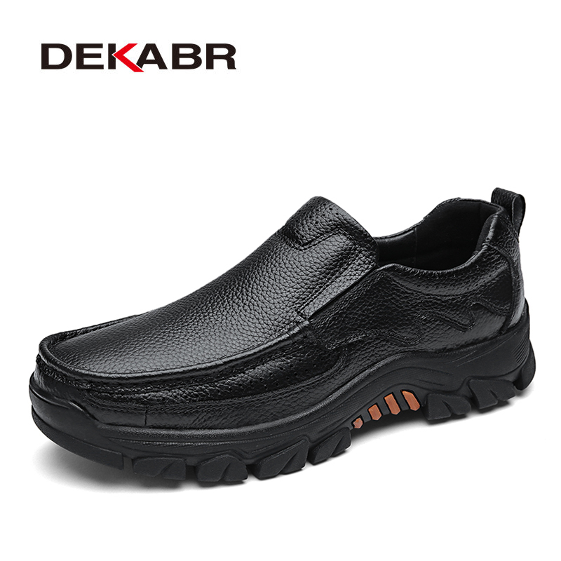 DEKABR 100% Genuine Leather Men Shoes Soft Men Casual Loafers High Quality Men Shoes Breathable Men Fashion Luxury Flats ninyoo soft fashion men casual shoes genuine leather flats shoes black high quality breathable students shoes plus size 46 47 48