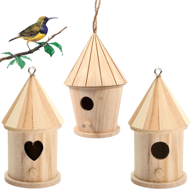 Outdoor Bird Nest House Parrot Hanging Hammock Wooden Ladder Swing Toy Handmade Box Bed