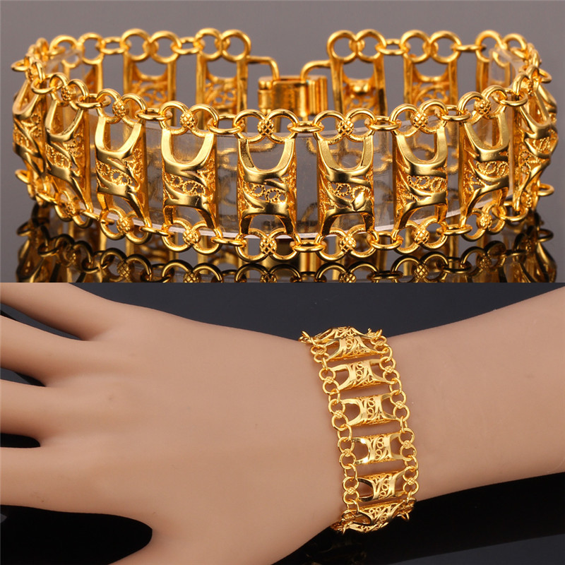 Aliexpress.com : Buy Kpop Hollow Bracelet Men yellow Gold/Silver ...