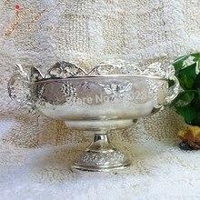 Yeni varış gümüş kaplama metal meyve yuvarlak kase/çinko alaşım meyve tepsisi/somun plaka, bulaşık tepsisi, düğün çiçek kompostosu