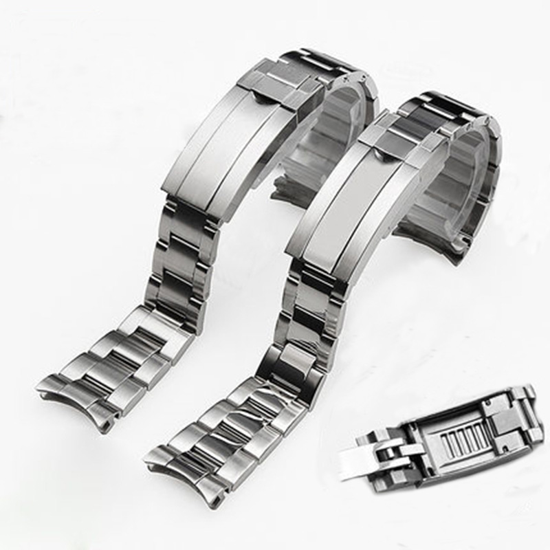 Brands 20mm Brushed Polish Silver Stainless steel Watch Bands Strap For RX Daytona Submarine Role Sub mariner Wristband Bracelet-in Watchbands from Watches