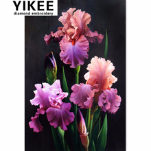 YIKEE diamond embroidery flowers,rhinestones embroidery,iris flower,diamond full square H215