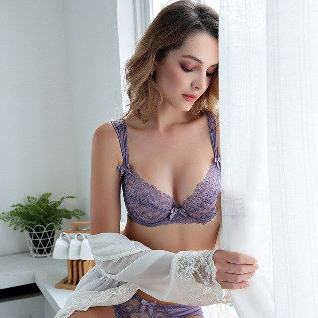 25e6843a8cb lace slim transparent lady sexy encaje lingerie femme bra and panty set  lenceria femenina bralette set panties string tanga