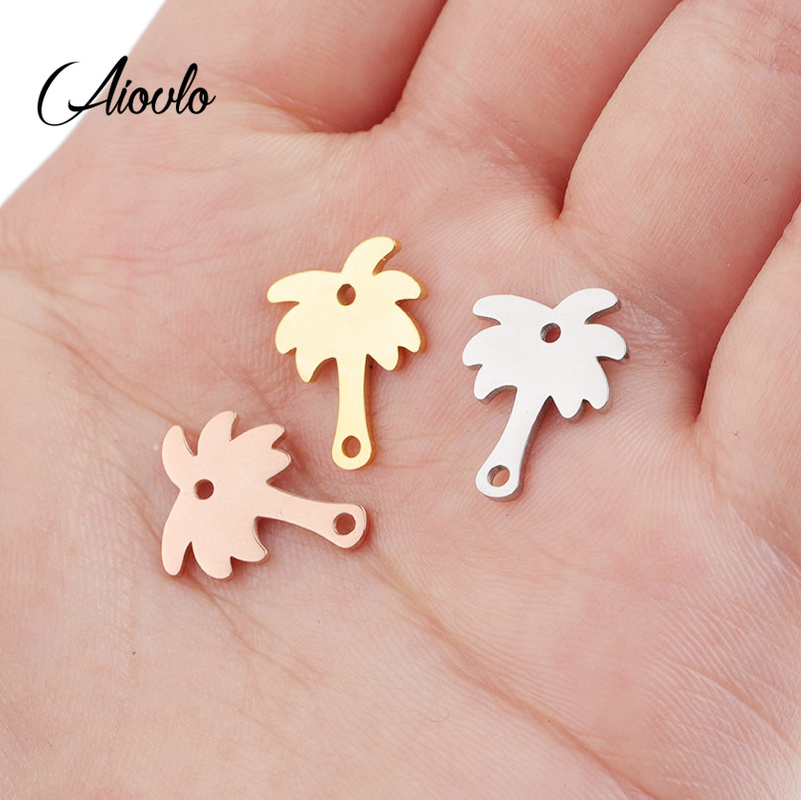 Aiovlo 5pcs/lot Stainless Steel Coconut Tree Connector Bracelet DIY  Findings Components Metal Earring For Jewelry Making