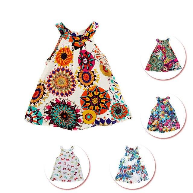 9ec9d05c4 Vestido de niñas 2-8 años 18 patrones disponibles estilo floral impreso de  verano material
