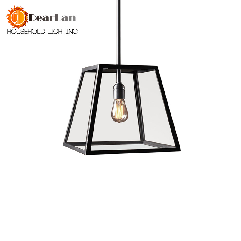 Vintage Iron Glass Box Pendant Lamp Loft Dining Room Coffee House Corridor Indoor Lighting E27 110