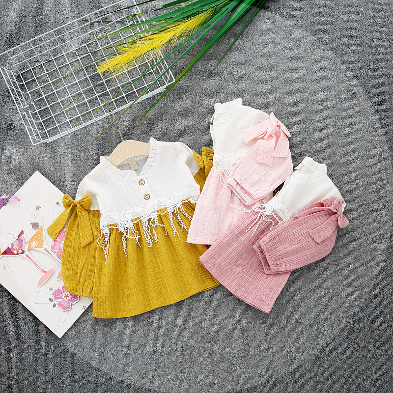 2018 Rushed Sale Patchwork Cotton Mesh Cute Full Girls Dress Spring Korean Version 0-3 Year-old Female Baby Stitching Yarn Knit