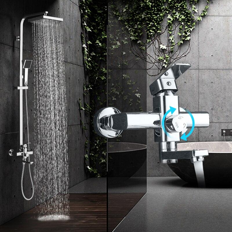 Quyanre Bathroom Shower Faucets Set 8 Rainfall Shower Head Tub Spout Sink Faucet 3 Way Single